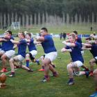 St Kevin's College players do the haka before the annual First XV rugby match against Waitaki...