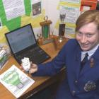 St Kevins College pupil Laura Grundy with her winning science project on energy-efficient bulbs....