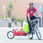 Stephen Chesterfield takes a break from his tour around the South Island raising funds for...