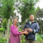 Stephen Newnham (right) takes over from Annie Beattie as Waitaki Community Gardens co-ordinator....