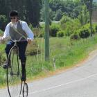 Steve Fox, of Oamaru, on the Alps 2 Ocean cycle trail near Duntroon yesterday. Photo by Andrew...