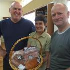 Steve Hotton (left), with Dawn and Marcus Brown who are involved with the Haka Valley Merino...