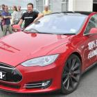 Steve West shows off his top-of-the-line Tesla Model S electric car in Dunedin yesterday. Photo...