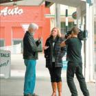 Taking a tour around Mataura are (from left) Dr Jack Phillips, 'Campbell Live' reporter Natasha...