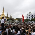 Student leader Nan Lin speaks during a protest against military representatives in Burma's...