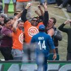 Sunjay Ganda celebrates catching a six at Hagley Oval in the opening game of the World Cup. Photo...