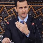 Syrian President Bashar Assad addresses the Parliament, in Damascus. (AP Photo/SANA, File)
