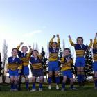 Members of the Taieri Under-7 Blue team (from left) Hamish Mears (7), Liam Smeaton (6), Tyler...