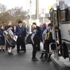 Taieri College pupils board a bus to Outram and Middlemarch at the college. Photo by Linda...