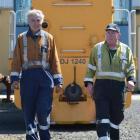 Taieri Gorge Railway workshop manager Peter Clark (left) and KiwiRail depot worker Jim Kelly...