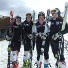 Taking a break from training at Coronet Peak on Friday were members of the Russian women's alpine...