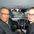 Driving instructor Jim Pine and learner Isabella Crawford take a break from the central city...