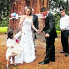 Tammy Russell and Leon Johnson, of Dunedin, who were married at Wanaka Station Park. FLUIDPHOTO.