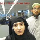 Tashfeen Malik and Syed Farook passing through Chicago's O'Hare International Airport. Photo:...