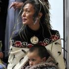Te Whitu Rangi takes a break on the knee of his grandmother, April Mokomoko, of Moeraki. Photo by...