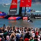 Team New Zealand celebrate after winning the 30th anniversary Louis Vuitton Cup Final against...
