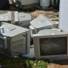 Television sets outside a student flat in North Dunedin. Photo by Gerard O'Brien.