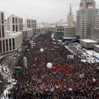Tens of thousands of flag-waving and chanting protesters in Moscow called for a disputed...