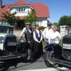 Terry Duffield, Barbara Robinson and Travis and Margaret Michelle, drove to Oamaru in 1930 Model...