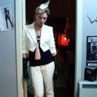 Terzann Elliot wearing Issey Miyake shoe trousers, Alexander McQueen jacket, Martin Margiela...