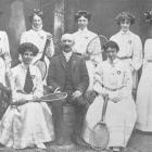 The 1909 New Zealand women's tennis team to Australia (standing from left) Misses A. Ward ...