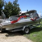 The 6-metre Kiwi-Kraft aluminium boat damaged by fire at Hampden on Tuesday. Photo by NZ Police.