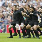 The All Blacks perform the haka in their new arrow formation, with Richie McCaw in front. Photo:...