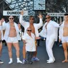 The Beefcake Boys (from left) B-Train, Mikey, Aaron, AJ, Spencer and Jimmy (front) ham it up at...