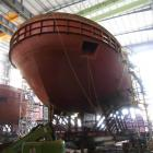 The bow section of Port Otago's new tug, Taiaroa, pictured in the Damen Group shipyard in Da Nang...