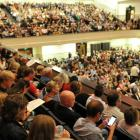 The bumper crowd attending the Tally Ho concert in the Dunedin Town Hall on Saturday night. Photo...