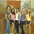 The cast of Make It or Break It (from left) Zachary Burr Abel (Carter Anderson), Josie Loren ...