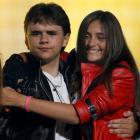 The children of late singer Michael Jackson, Prince Michael Joseph Jackson Jr. (L) and Paris...