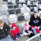 The Chisholm family  at Forsyth Barr Stadium yesterday (from left) Beth, twins Marlie and Ruby ...