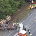 The crash scene on State Highway 1 near Waipu at Uretiti, north of Auckland. Photo / Brett Phibbs
