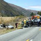 The crash scene on State Highway 6 at Gibbston yesterday. Photos by Christina McDonald.
