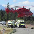 The Dunedin Rescue Helicopter takes two patients from the road between Lake Middleton and Lake...