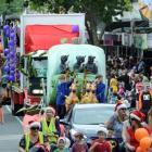 The Dunedin Santa Parade makes its way down George St yesterday. Photo by Craig Baxter.
