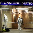 The east London station was cordoned off after the attack. Photo: Reuters