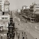 The Exchange, Princes St and High St looking south in 1948. Photo from Evening Star.