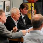 The future of professional swim coaching at Moana Pool is discussed yesterday by (from left)...