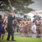 The hikoi from the anti-TPP protest in Auckland is welcomed back onto Te Tii Marae, Waitangi....
