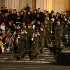 The Honour gaurd at the ANZAC dawn service at the Cenotaph at Auckland's War Memorial,. Credit...