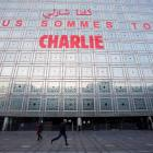The message 'We are all Charlie' is seen on the facade of the Arab World Institute in Paris, in...
