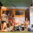 The Motor Camp cast (from left) Jonathan Hodge, Patrick Davies, Kim Garrett, Claire Dougan, Nadya...