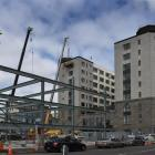 The new steel framework of the Distinction Dunedin Hotel car-parking building in Crawford St,...