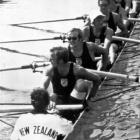 The New Zealand rowing eight prepares for the final at the 1972 Munich Olympics. Photo from the ...