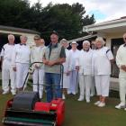 The newly arrived greenkeeper at the Waikouaiti Bowling club, Russell Jenkinson (front), with...