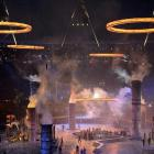 The Olympic rings are lowered into place during the opening ceremony of the London 2012 Olympic...