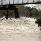The Oreti river in flood near Turkey Bush road today. Credit:NZPA / Dianne Manson.