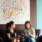 The Perc cafe owner Sarah Henderson (left) and Zaibatsu Hair Art owner Jaimee Smith discuss their...